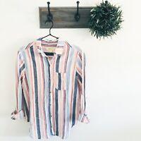 Anthro Maeve Pink Blue Stripe Button Down XS