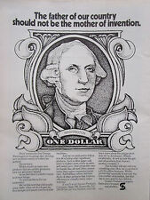 1972 PUB SONOCO PRODUCTS PAPER PLASTICS GEORGE WASHINGTON BANK NOTE BILLET AD