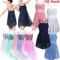 UK Girls Ballet Latin Lyrical Dance Dress Ballerina Gym Leotard Skirt Dancewear