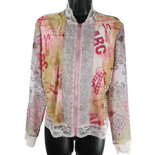 JAIPUR Pink & Multi Color/ Pattern Beaded Lace Zip Closure Thin Jacket Size M