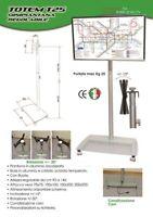 Porta tv a piantana base in vetro temperato altezza regolabile e ruote  mod. T25