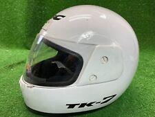 KBC MOTORCYCLE HELMET SIZE XL Solid All White MODEL TK-7 W Clear Mask Shield