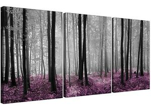 Plum Forest Woodland Trees Canvas Wall Art 3 Panel Wall Art Pictures