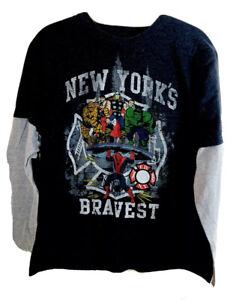 Boys Marvel NYC New Yorks Bravest Tee Shirt Long Sleeve Spider Man Hulk Sz XL