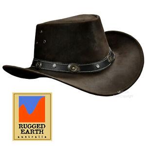 Cappello IN Pelle Occidentale-Stile Equitazione Caccia Pesca Migrare Esterno 053