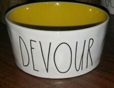 "Rae Dunn DEVOUR Medium Yellow Interior Pet Water Food Bowl 6"" X 3"" LL HTF Rare"