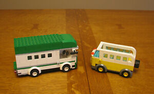 LEGO  CUSTOM  CITY  TOWN  LOT OF 2 CAMPERS  BUS    NO MINIFIGURES