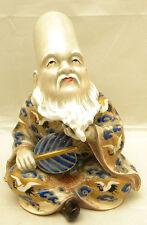 Japanese Meiji gosu-blue Satsuma Okimono - man w/fan