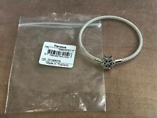 "Genuine Pandora Snowflake Bracelet ""Shine Bright"" Star Clasp Mesh Bangle 17cm."