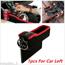 Red Black Car Seat Gap Filler Catcher Storage Box Coin Box +Cup Holder For Left