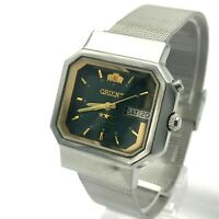 ORIENT Crystal Square Green Men's Japan Automatic Calendar Watch German English