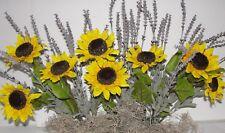 "Thanksgiving Silk Sunflowers Lavender Window Box Arrangement fits your 24"" box"