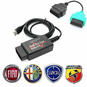ELM + Green Adapter Cable 1 'A1' fits Fiat Alfa Lancia for MultiEcuScan
