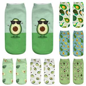 Women Fashion Cute Cartoon Avocado 3D Printing Ladies Short Socks Boat Socks New