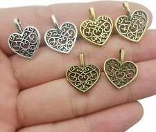 10 Heart Charms Valentines Day Pendants Gold Silver Assorted Mix Supply Lot