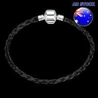 925 Sterling Silver Filled Black Braided Rope Solid Bracelet With Pandora Clasp