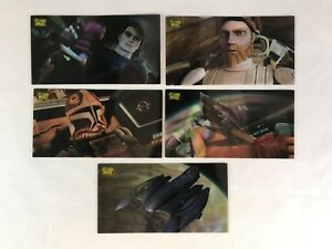 STAR WARS CLONE WARS WIDEVISION Complete MOTION FLIP Chase Card Set (5)