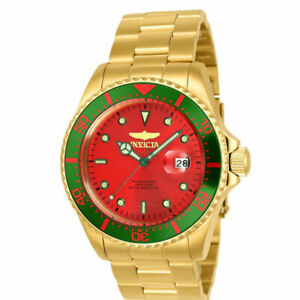 Invicta 23397 Pro Diver Date Red Dial Green Bezel Gold Tone Mens Watch