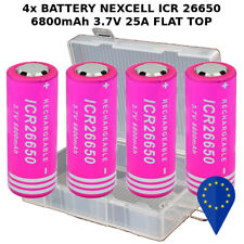 4x BATTERY NEXCELL ICR 26650 6800mAh 25A 3.7v BATTERIA FLAT TOP LITHIUM BOXED X4