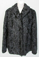 Vtg Molda Women's Black Lamb Fur Jacket Coat Size 12 With Cap Hat Size 7 - 7 1/8