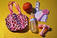 Barbie Sports Gym Bag Hand Weights Basketball Tennis Racket Water Bottle Lot C