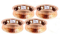Steel Copper Serving Dish Indian Food Daal Curry Handi Bowl 500 ML Set of 4