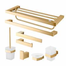 Brushed Gold Bathroom Wall Mount Towel Rack Toilet Paper/Brush Holder Soap Dish