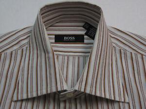 Hugo Boss Men's 15 1/2-32/33 Long Sleeve Orange Striped 100% Cotton Shirt 7280