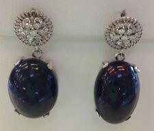 Huge 30+ ct Ethiopian Black welo Opal & diamond 18k Gold & SS dangle earrings