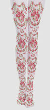 Victoriana Rose Garland Design Opaque Tights Lolita Steampunk Harajuku Gothic