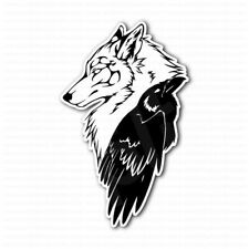 Wolf Head And Celtic Crow Laptop Car Bumper Sticker