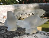 Vintage Lalique France Frosted Glass Two Sparrow Birds c1960's