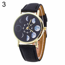 Ladies Fashion Gold Tone Quartz Moon Phase Patterned Black Band Wrist Watch.