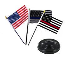 "USA / Blue / Red Thin Line Flags 4""x6"" Desk Set Table Stick Black Base"