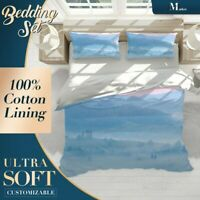Misty Field Nature Landscape Blue Quilt Cover Set with 2x Matching Pillowcases