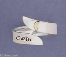 Far Fetched DREAM Adjustable RING Sterling Silver & Brass Moon - Gift boxed