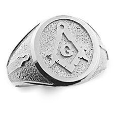 Mens Sterling Silver (925)  Masonic Master Freemason Square and Compass Ring