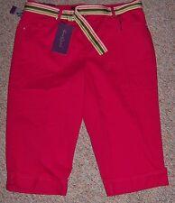 New GLORIA VANDERBILT Dark Cherry Pink Denim Capris Jeans Cuffs Belt Size 14P
