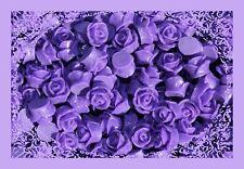 20 Rose Cabochon Purple Thistle Roses Resin Retro Flower 10mm Gorgeous Flatback