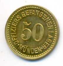 Germany WWI German Prisoners Officers Camp Münden Notgeld Brass 50 Pfennig AU