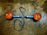 Vintage Pair 1970s Motorcycle OEM Chrome Turn Signals /  Amber Running Lights
