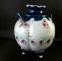 Hand Painted Vintage Vase Floral Double Handle Cobalt Blue 4 Leg Porcelain China
