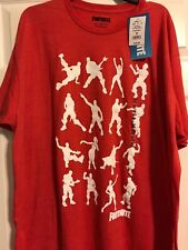 Fortnite Mens T-shirt Emote Dance Moves Color Red Size 2X  NWT
