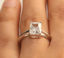 1.50ct Emerald Cut Diamond Ring Wedding Solitarie 18kt White Gold Finish