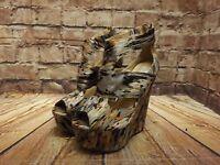 Womens River Island Grey & Orange Textile High Heel Platform Sandals Size UK 3