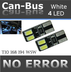 2 pair T10 Samsung 4 LED Chips Canbus White Fit Front Parking Light Lamps X563
