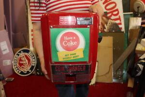 Vintage 1950's Coca Cola Coin Changer Soda Pop Vending Machine Sign NICE