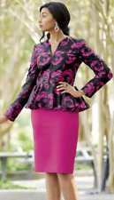Ashro Formal Dress Magenta Black Floral Church Toni Skirt Suit 8 10 12 14 16 24W