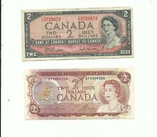 🇨🇦 Canada 2 x  $2 Dollars 1954 and 1974 Currency Banknotes FREE USA SHIPPING!