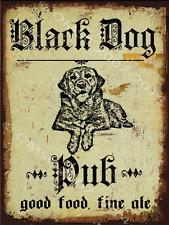 Black Dog Pub Metal Sign, Good Food, Fine Ale,Hunting Dog, Rustic Bar, Den Decor